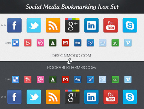 New Free Social Media Bookmarking Icon Set