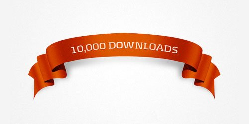 Free PSD file: 10k downloads ribbon