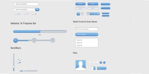 Elegant Blue UI Free PSD