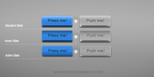 Stylish 3D push buttons (Free PSD Template)