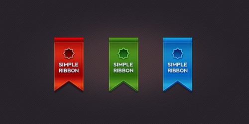 Beautiful ribbon in 3 colors (PSD)