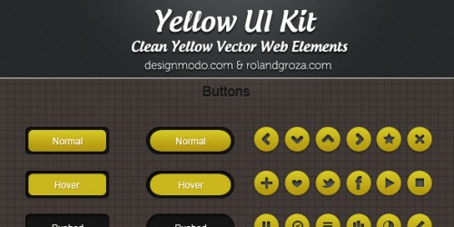 Free PSD Yellow Web UI Elements Kit