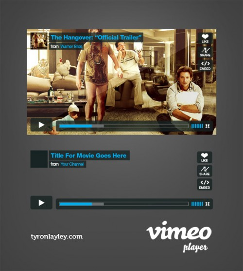 Vimeo Player GUI PSD