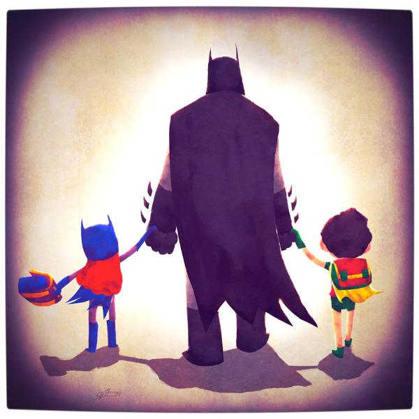Vamers-Atristry-Marvel-and-DC-Superheroes-Walk-Their-Children-to-School-Art-by-Andry-Rajoelina-DC-Batman