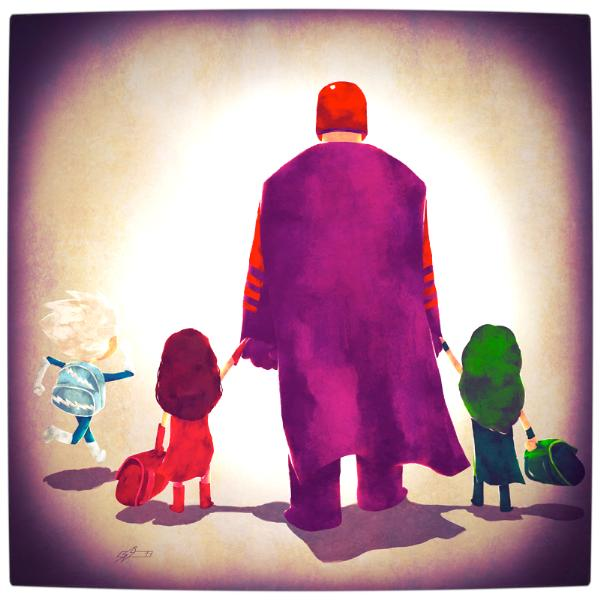 Vamers-Atristry-Marvel-and-DC-Superheroes-Walk-Their-Children-to-School-Art-by-Andry-Rajoelina-Marvel-Magneto