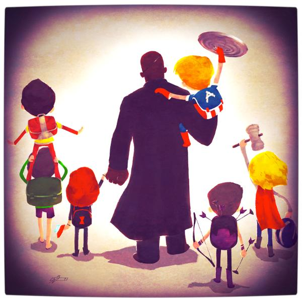 Vamers-Atristry-Marvel-and-DC-Superheroes-Walk-Their-Children-to-School-Art-by-Andry-Rajoelina-Marvel-Nick-Fury-and-The-Avengers