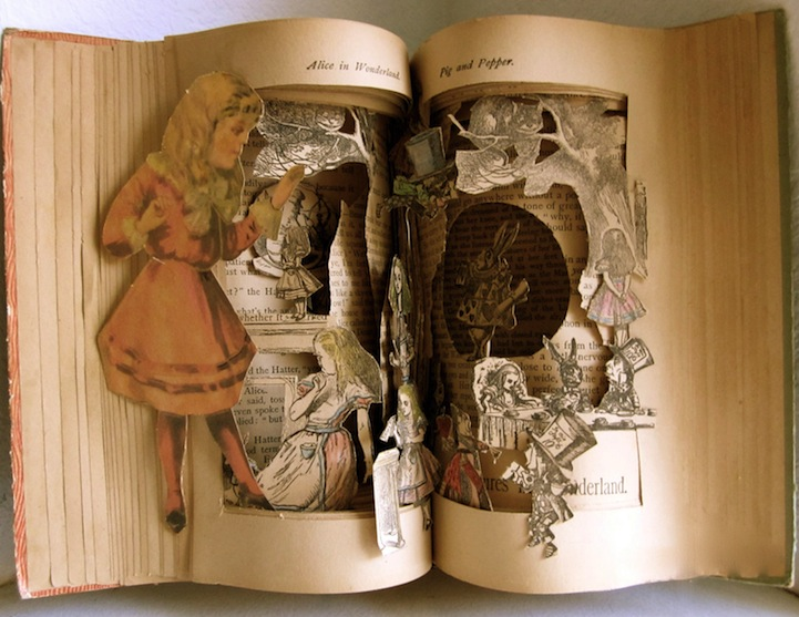 Classic fairy tale characters crawl out of their Alice and wonderland art projects